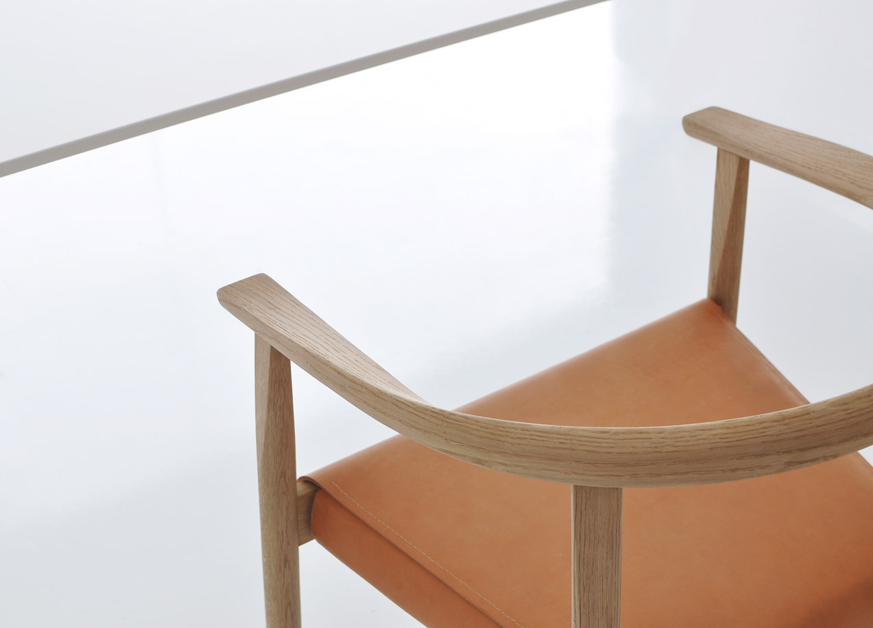 Tokyo Chair in white oak, natural leather